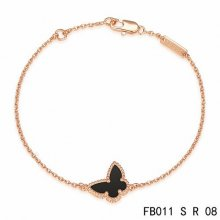 Fake Van Cleef & Arpels Sweet Alhambra Butterfly Bracelet In Pink Gold With Onyx