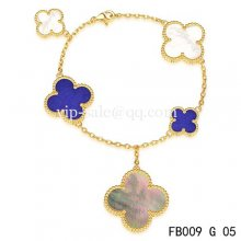 Imitation Van Cleef & Arpels Magic Alhambra Bracelet In Yellow With 5 Stone Clover
