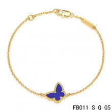 Fake Van Cleef & Arpels Sweet Alhambra Bracelet In Yellow With Purple Butterfly