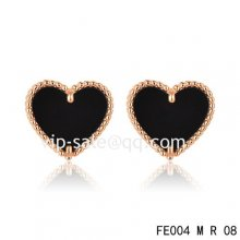 Cheap Van Cleef & Arpels Sweet Alhambra Heart Earrings Pink Gold,Onyx