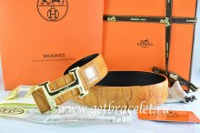 Hermes Reversible Belt Orange/Black Crocodile Stripe Leather With18K Gold Idem With Logo Buckle
