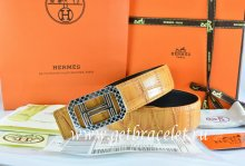 Hermes Reversible Belt Orange/Orange Crocodile Stripe Leather With18K Silver Lace Strip H Buckle