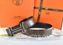 Hermes Reversible Belt Brown/Black Crocodile Stripe Leather With18K Black Silver H Buckle