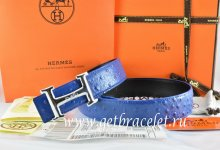 Hermes Reversible Belt Blue/Black Ostrich Stripe Leather With 18K Silver Idem With Logo Buckle