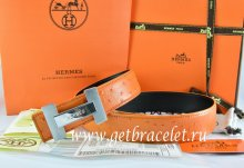 Hermes Reversible Belt Orange/Black Ostrich Stripe Leather With 18K Silver H Logo Buckle