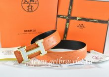 Hermes Reversible Belt Orange/Black Ostrich Stripe Leather With 18K White Gold H Buckle