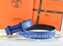 Hermes Reversible Belt Blue/Black Ostrich Stripe Leather With 18K Blue Silver Narrow H Buckle