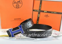 Hermes Reversible Belt Black/Black Ostrich Stripe Leather With 18K Blue Gold Width H Buckle