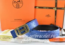 Hermes Reversible Belt Blue/Black Ostrich Stripe Leather With 18K Gold Lace Strip H Buckle