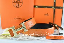 Hermes Reversible Belt Orange/Black Ostrich Stripe Leather With 18K Gold Spot Stripe H Buckle