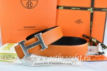 Hermes Reversible Belt Orange/Black Togo Calfskin With 18k Drawbench Silver H Buckle