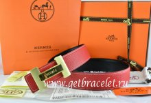 Hermes Reversible Belt Red/Black Togo Calfskin With 18k Gold Logo H Buckle