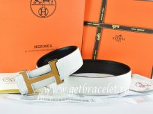 Hermes Reversible Belt White/Black Togo Calfskin With 18k Orange Silver H Buckle