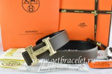 Hermes Reversible Belt Brown/Black Togo Calfskin With 18k Gold Geometric Stripe H Buckle
