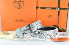 Hermes Reversible Belt White/Black Snake Stripe Leather With 18K Drawbench Silver H Buckle