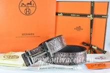 Hermes Reversible Belt Brown/Black Snake Stripe Leather With 18K Silver H au Carre Buckle