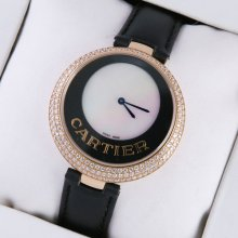 Captive de Cartier 18k pink gold black leather strap diamond watch for women