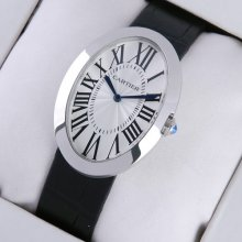 Cartier Baignoire steel extra large mens watch replica black leather strap