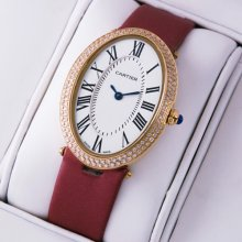 Cartier Baignoire 18K pink gold diamond womens watch replica crimson satin strap