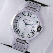 Ballon Bleu de Cartier large watch replica silver dial stainless steel