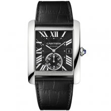 Cartier Tank MC automatic mens watch W5330004 steel black dial black leather strap
