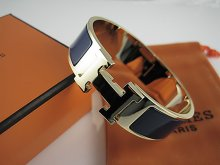 Hermes Dark Blue Enamel Clic H Bracelet Narrow Width (18mm) In Gold