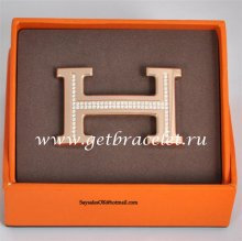Hermes Reversible Belt 18k Rose Gold Plated H Buckle with Single Row Full Diamonds