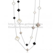 Van Cleef & Arpels Magic Alhambra Necklace White Gold 16 Motifs With Black Agate White Gray Mother Of Pearl
