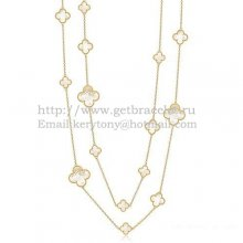 Van Cleef & Arpels Magic Alhambra Necklace Yellow Gold 16 Motifs With White Mother Of Pearl
