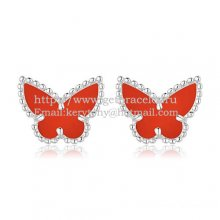 Van Cleef & Arpels Sweet Alhambra Butterfly Earrings White Gold With Carnelian Mother Of Pearl