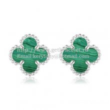 Van Cleef & Arpels Sweet Alhambra Earrings 9mm White Gold With Malachite Mother Of Pearl