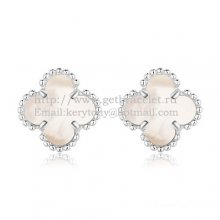 Van Cleef & Arpels Sweet Alhambra Earrings 9mm White Gold With White Mother Of Pearl