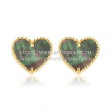 Van Cleef & Arpels Sweet Alhambra Heart Earrings Yellow Gold With Gray Mother Of Pearl