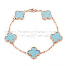 Van Cleef & Arpels Vintage Alhambra Bracelet 5 Motifs Pink Gold With Turquoise Mother Of Pearl