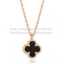 Van Cleef & Arpels Sweet Alhambra Pendant Pink Gold With Black Agate Mother Of Pearl 9mm