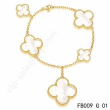 Fake Van Cleef & Arpels Magic Alhambra Bracelet In Yellow Gold With Mother-Of-Pearl