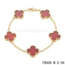 Fake Van Cleef & Arpels Bracelet Jaune Avec 5 Motifs De Couleur Rouge