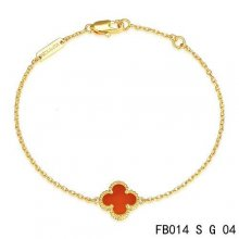 Cheap Van Cleef & Arpels Sweet Alhambra Bracelet In Yellow Gold With Carnelian