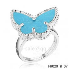 Replica Van Cleef Alhambra Ring In White Gold With Turquoise