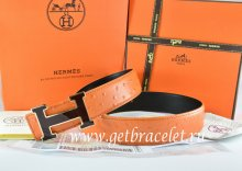 Hermes Reversible Belt Orange/Black Ostrich Stripe Leather With 18K Black Silver Width H Buckle