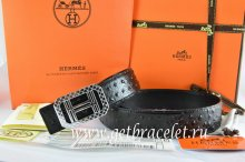 Hermes Reversible Belt Black/Black Ostrich Stripe Leather With 18K Silver Lace Strip H Buckle