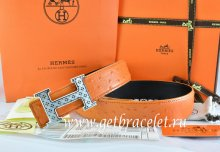 Hermes Reversible Belt Orange/Black Ostrich Stripe Leather With 18K Silver Spot Stripe H Buckle