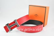Hermes Reversible Belt Red/Black Togo Calfskin With 18k Drawbench Silver H Buckle