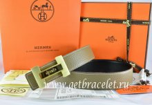 Hermes Reversible Belt Light Gray/Black Togo Calfskin With 18k Gold Logo H Buckle