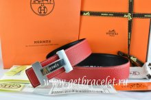 Hermes Reversible Belt Red/Black Togo Calfskin With 18k Silver Logo H Buckle