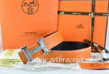 Hermes Reversible Belt Orange/Black Togo Calfskin With 18k Silver Geometric Stripe H Buckle