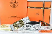 Hermes Reversible Belt White/Black Snake Stripe Leather With 18K Gold Lace Strip H Buckle