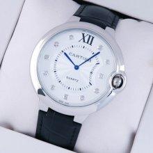 Ballon Bleu de Cartier extra large watch diamond dial steel black leather strap