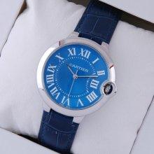 Ballon Bleu de Cartier medium steel watch imitation blue dial leather strap