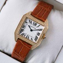 Cartier Santos Dumont diamond watch for women 18K pink gold brown leather strap